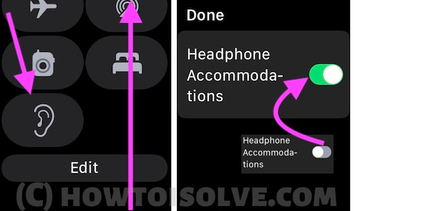 Headphone Accommodations on Apple Watch from control center