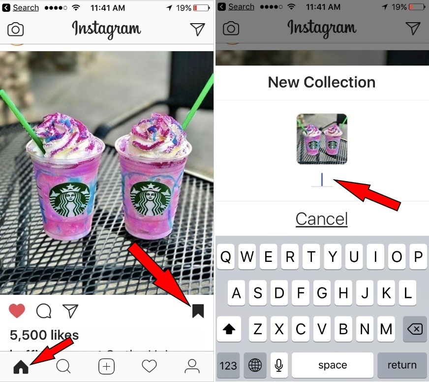 tap and hold on bookmark icon underneath any post to save directly to a new or add into exist collection