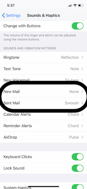 Settings for Mail Sound on iPhone