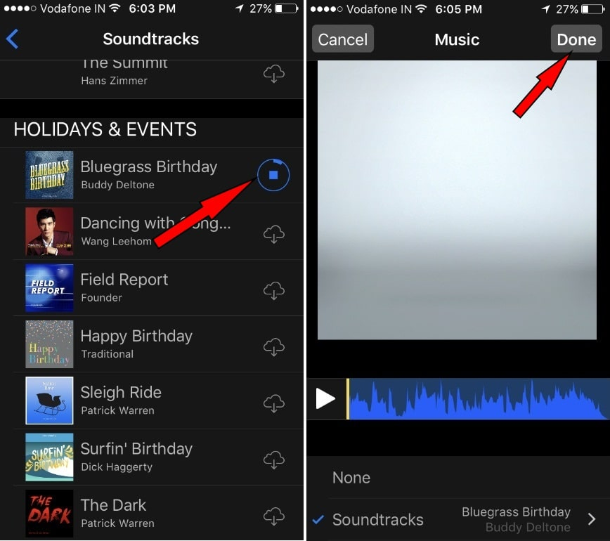 Put background music in video in Clips App on iPhone