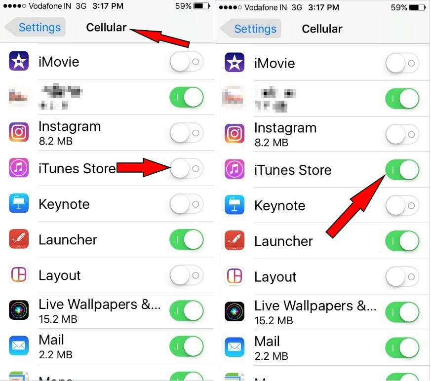 iTunes Store is enabled for Cellular Data
