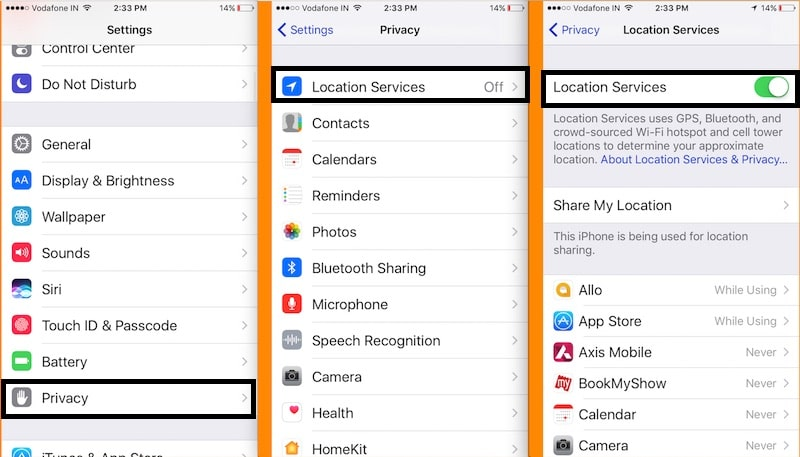 1 Enable location service on iPhone and iPad