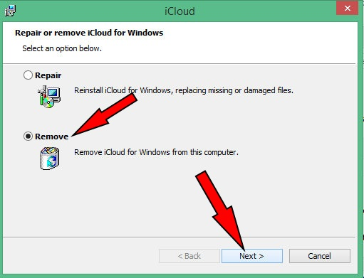 click on Next to uninstall iCLoud form Windows