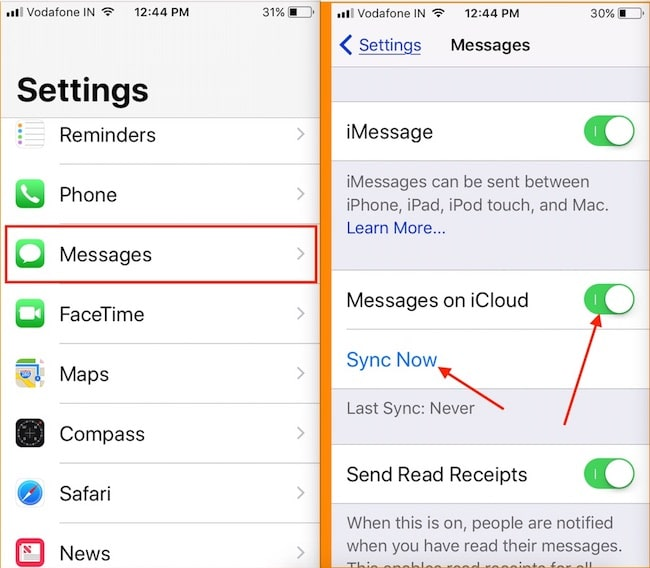 1 Enable Message in iCloud on iPhone