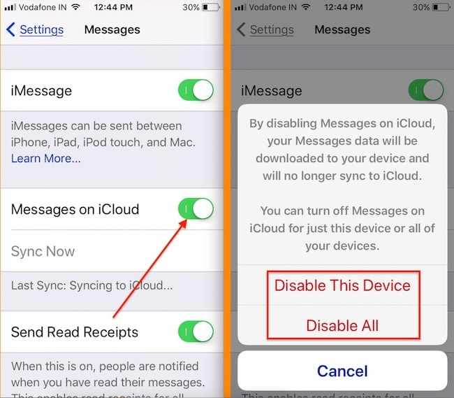 2 Disable Message on iCloud from iPhone remotely
