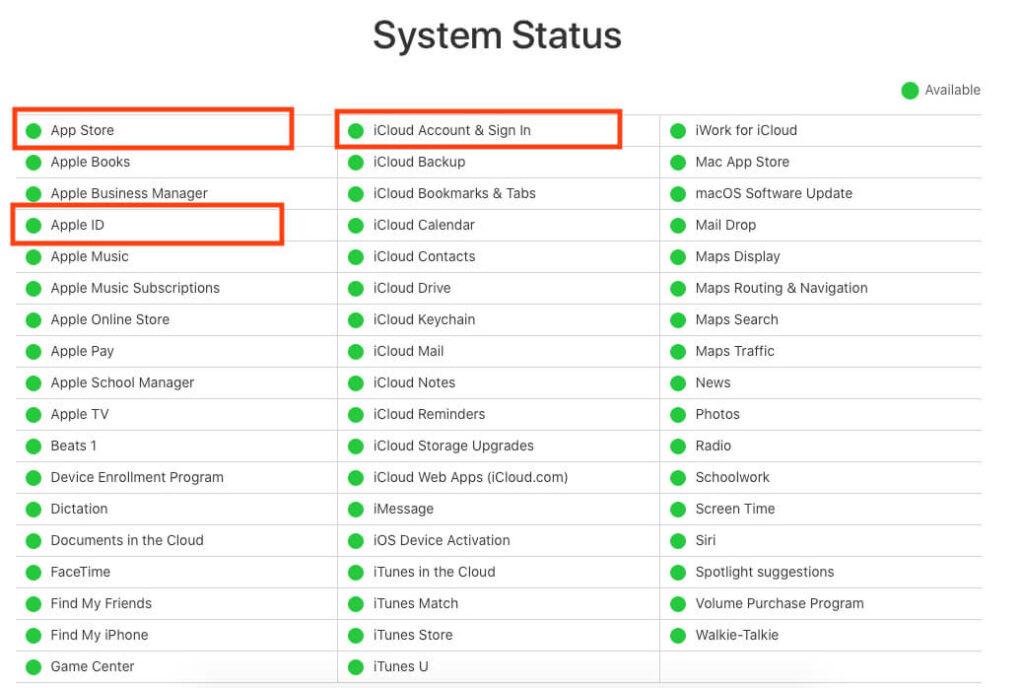 Apple Server Status for App Store