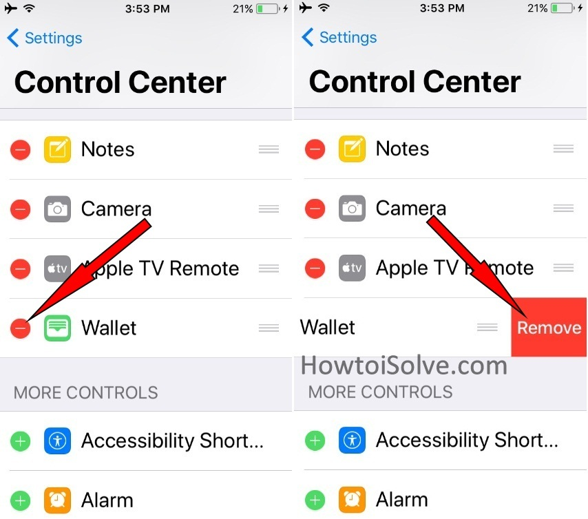 Delete or Remove an App from CC on iPhone iOS 11