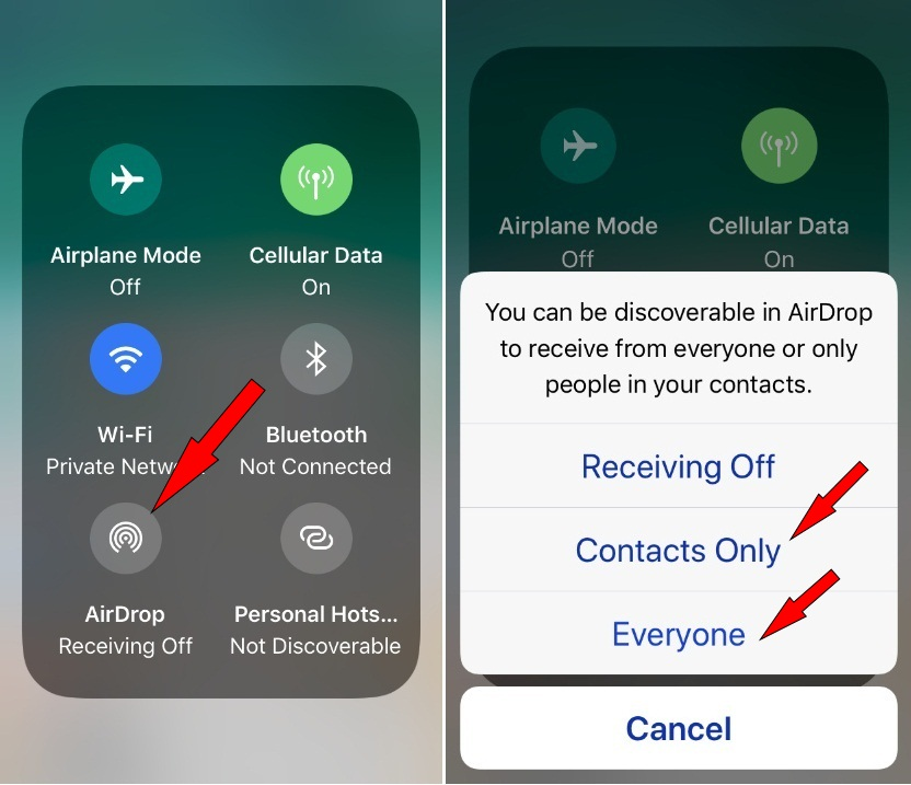 AirDrop to share picture music on iPhone to iPad iOS 11