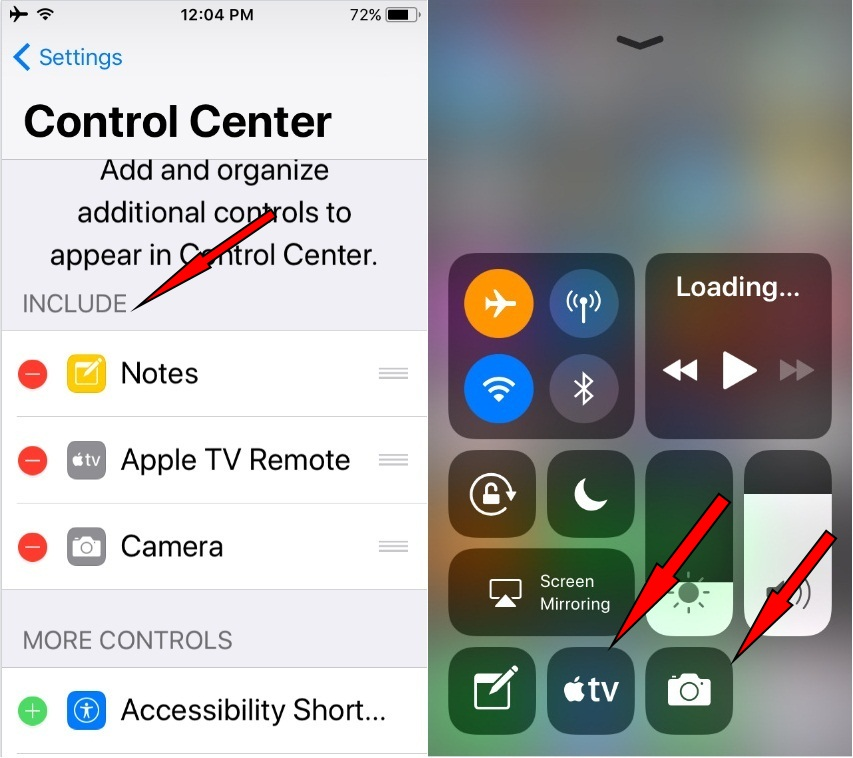 How to Add Apple TV remote App shortcuts Shortcuts on Control Center in iOS 11 on iPhone