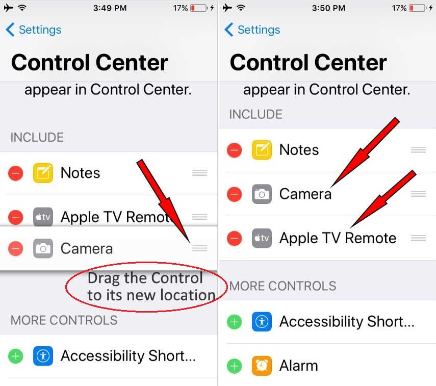 Organize the Order of App Shortcuts icon on Control Center in iOS 11