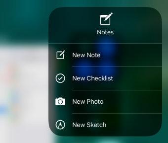 Notes App shortcuts in Control Center iOS 11on iPad Air iPad Pro iPad Mini