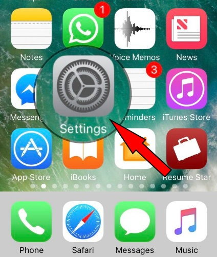 Settings App Gear icon on iOS 11 iPhone