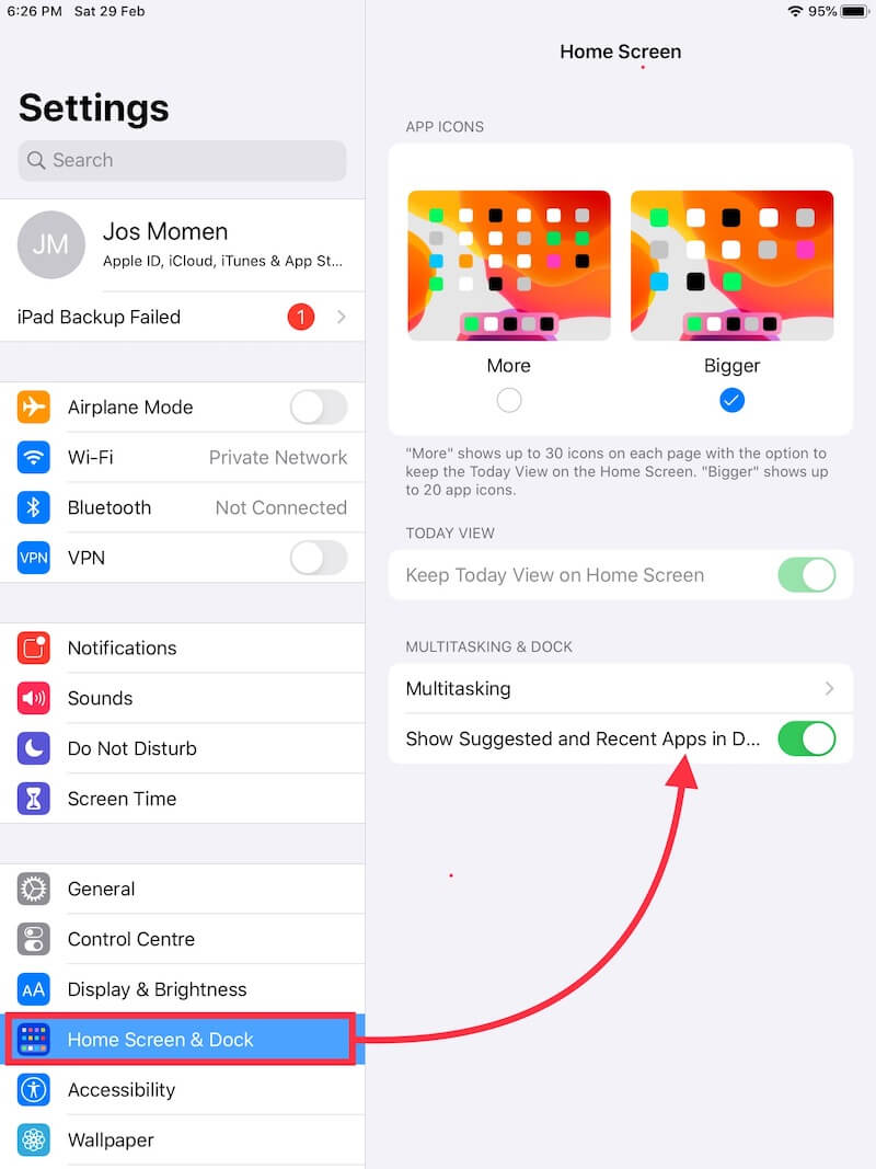 Settings for show recent apps on iPad dock