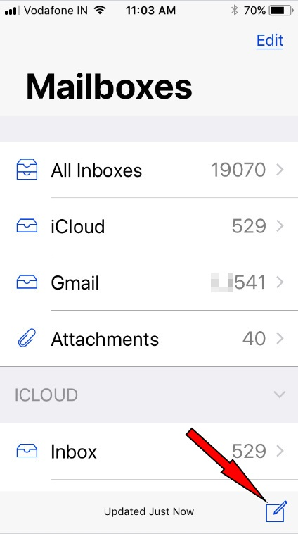 Tap on new mail to enter new mail screen in iOS 11 iPhone iPad