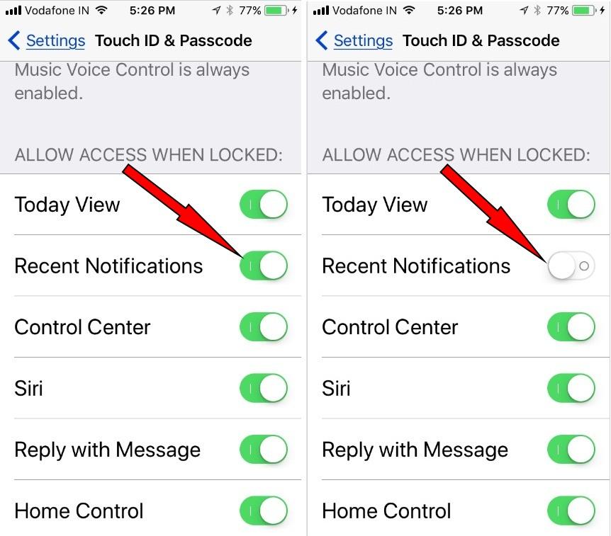 turn off notification center in iOS 11 on iPhone locked screen on iPad