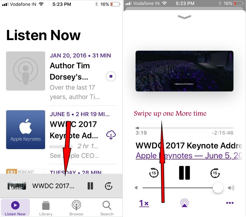iOS 11 new Podcast App to change or Sleep timer when playing episode on iPhone