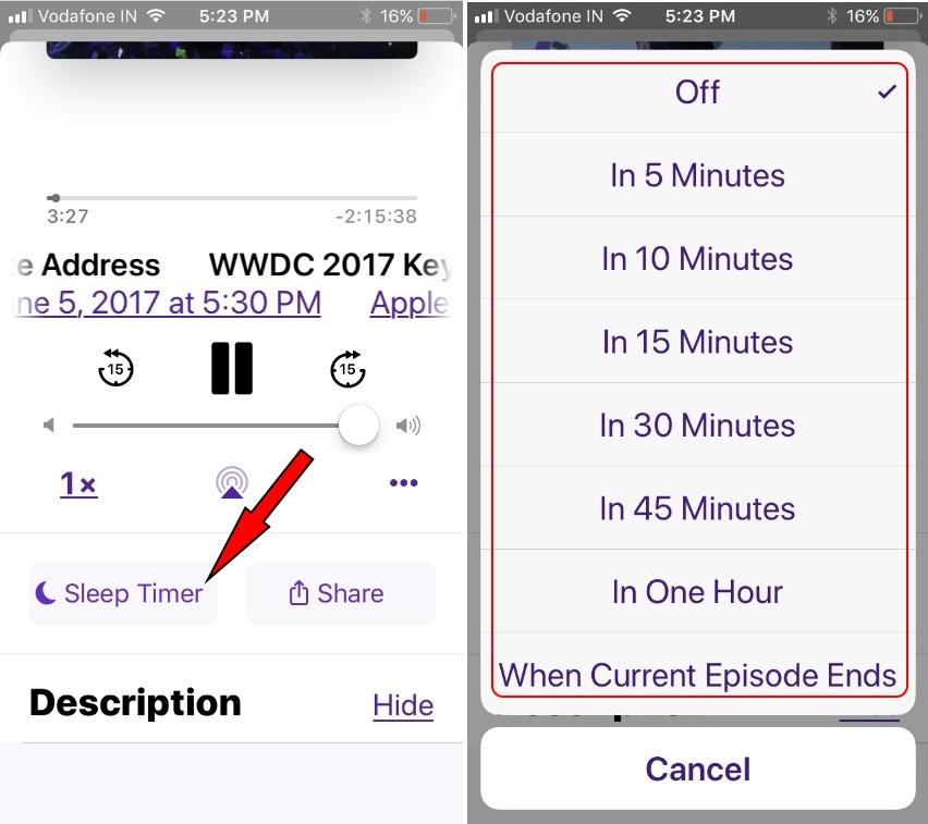 tap on Sleep timer on Podcast App iOS 11 to turn on and turn off Podcast asleep time