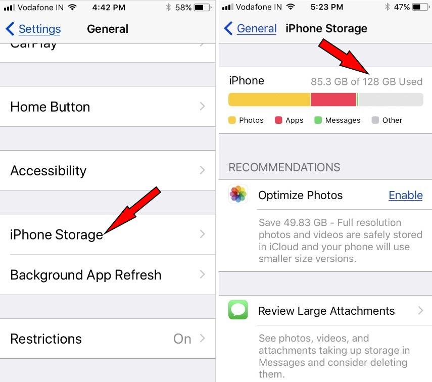 iPhone Storage iOS 11 or later iPhone iPad