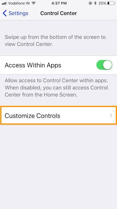 2 customize controls in settings