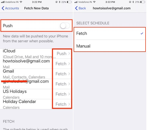 3 Option for set Push or Fetch in Mail Account