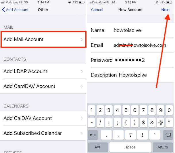 4 Add New mail account in iPhone mail app with iOS 11
