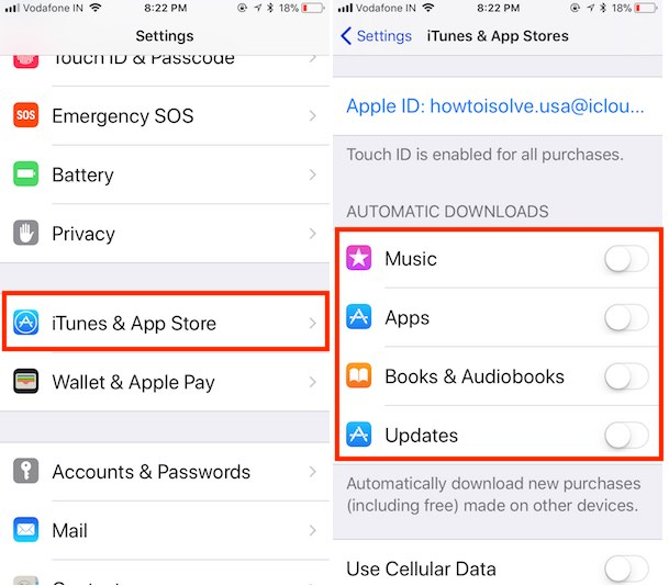 4 Disable App update on app store automatically on iOS 11