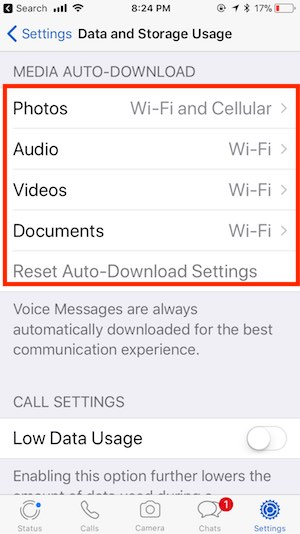 5 Disable Data and Storage usage on WhatsApp