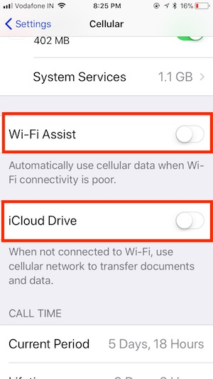 6 Disable Wi-Fi Assist or iCloud Drive on Cellular Data on iPhone and iPad