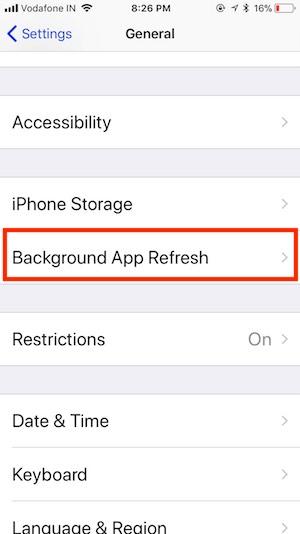 7 Manage Background App Refresh on iOS 11