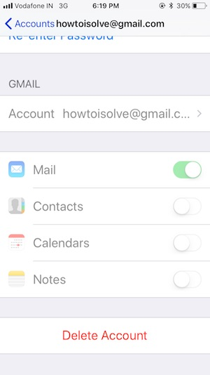 9 Delete Mail account on iOS 11 in iPhone and iPad