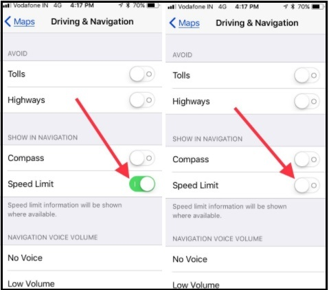 Settings to Turn off disable Speed Limit indicator on Your iPhone runing iOS 11 or later