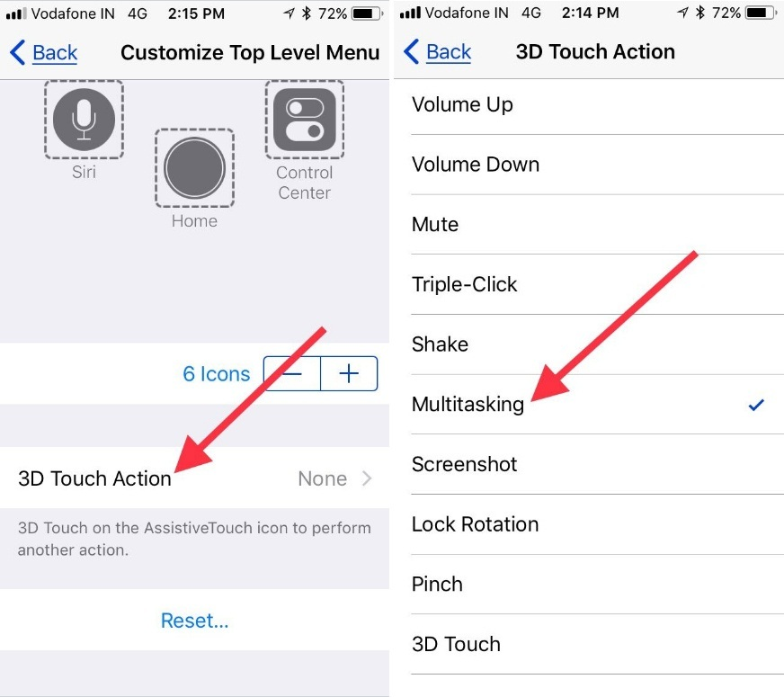 Tap on 3D touch Action to set Multitasking button to Force Close App in iOS 11 iPhone iPad