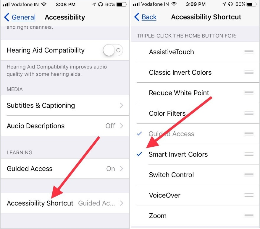 Tap on Accessibility Shortcut to add and enable Smart Invert Colors in iOS 11 on iPhone iPad
