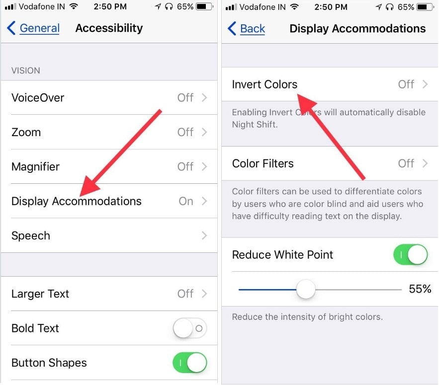 Tap on Display Accommodations to activate Invert Colors in iOS 11 on iPhone iPad