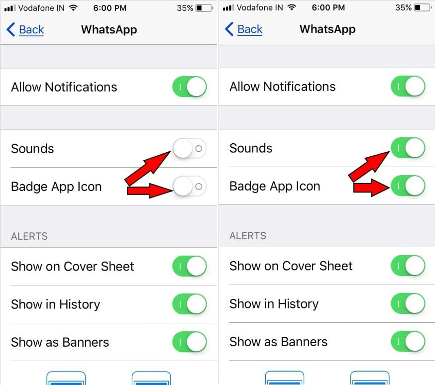 turn on WhatsApp Notification Sound and Badge App iCon iPhone