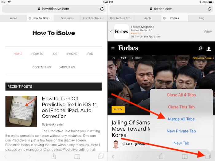 1 Merge All tab in Safari Split screen in iOS 11 on iPad