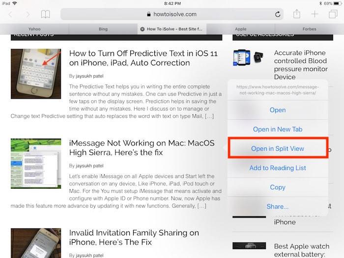 2 Open Safari page in Split Screen on Safari iPad in iOS 11