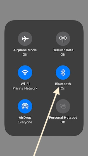 2 Turn on Bluetooth Manually in iOS 11 control Center