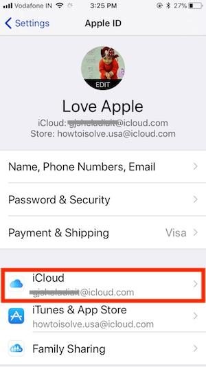 2 iCloud Settings on iPhone