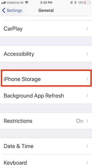 2 iPhone Storage in Settings app