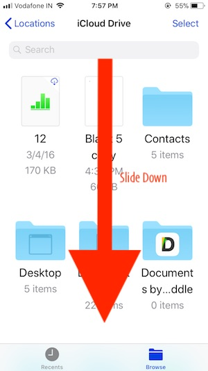 3 Scroll down and Find option for create a new Folder on iOS 11 Files app