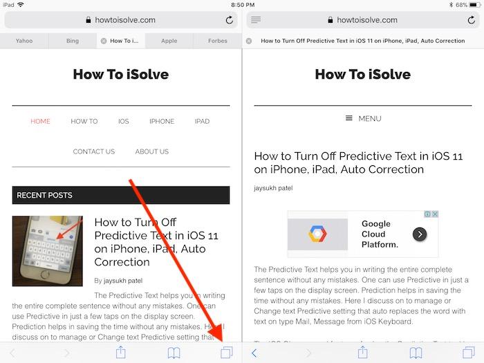 4 Safari tab button on Safari split screen in iOS 11