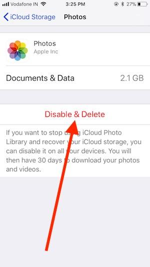 5 Delete iCloud Photo on iPhone in iOS 11