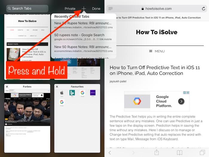 5 Open Recently Closed Tab on Safari iPad split screen