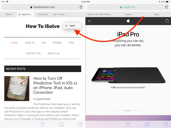 6 Move Tab between Safari split screen on iPad