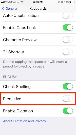 7 Disable Predictive on iOS 11