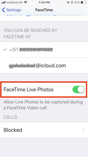7 Enable FaceTime live photo on iPhone