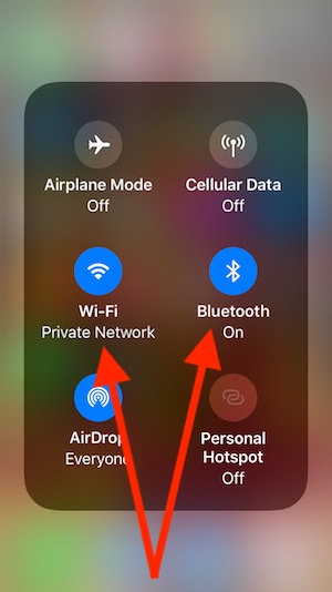 8 Enable Wi-Fi and Bluetooth on iPhone from Control center in iOS 11
