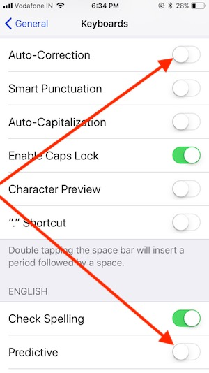 8 Predictive Text Keyboard Settings on iPhone in iOS 11