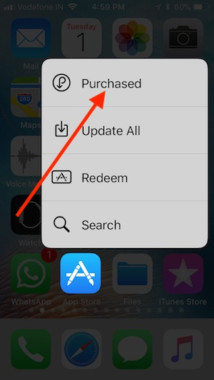8 Purchased apps option using 3D Touch